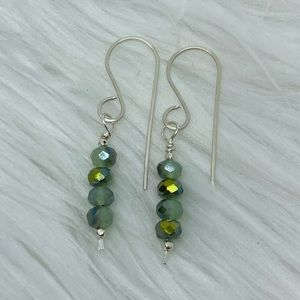 Mint Glass Faceted Sterling Silver Dangle Earrings